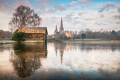 Stowe Pool - Landscape (Dave Fieldhouse Photography) Tags: lichfield lichfielddistrict staffordshire staffordshirelife stowepool landscape water city boathouse cathedral morning ice lake fuji fujixt2 fujifilm winter tree frozen sky clouds