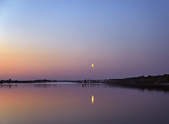 Reflection of the Moon in water at  pink sunrise (Sergey_pro) Tags: night sky sea blue yellow pink red river lake reflex forest shore beach sunset sunrise mist fine bay coast seaside sand bathing seascape romantic water sandy coastline landscapes