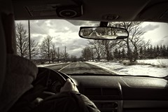 Week #1 - A quick look back (steve.schlick) Tags: 52in2017 reflection week1 car windshield mirror trees sky road speedlimit sign drive dashboard steeringwheel rearviewmirror snow openroad clouds telephonepole on1pics