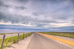 The endless road to The North. (Alex-de-Haas) Tags: hdr holland hollandseluchten ndfilter nederland netherlands noordholland noordzee northsea petten avond beach clouds daglicht daylight duin duinen dune dunes evening highdynamicrange lucht neutraldensityfilter sea skies sky strand summer wolken zee zomer
