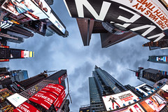 Times Square Fish eye'd (dansshots) Tags: timessquare timessquarenewyorkcity timessquarenyc lookup lookingup alwayslookup wideangle rokinon nyc newyorkcity nikon nikond750 dansshots iloveny rokinon12mm rokinon12mm28
