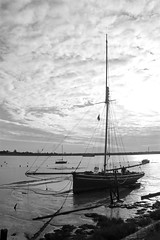 Waiting For The Tide! (RiverCrouchWalker) Tags: sailingboat waitingforthetide heybridgebasin essex lowtide blackwaterestuary blackandwhite mono clouds countyofessex