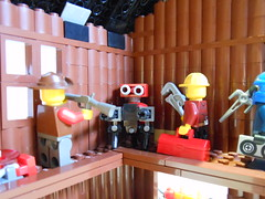 DSCN3844 (Mightyslickpancake) Tags: lego team fortress 2 heavy medic demoman soldier scout pyro spy engineer sniper ctf tf2 capture flag red vs blue hats