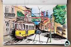 dessin_mars_tram_lisbonne (kristellw) Tags: dessin aquarelle lisbonne sketch rue