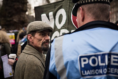 Stare down (jprwpics) Tags: march london love peace muslim nomuslimban refugeeswelcome trump america embassy protest unite theresamay