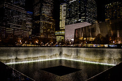 National September 11 Memorial at World Trade Center New York City NY at Night (mbell1975) Tags: newyork unitedstates us national september 11 memorial world trade center new york city ny night 911 september11 evening nights citylights lights nyc manhattan usa america american monument waterfountain water fountain falls wtc worldtradecenter centre lower