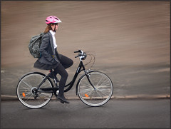 No hands schoolgirl (rogermccallum) Tags: bike biker cycle cycling school schoolgirl street nohands journey road
