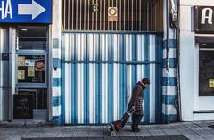 Street scene (__Bambi__) Tags: streetphotography fotografíacallejera fotografiaurbana oviedo garaje stripes blue people walker