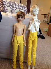 Obnoxiously yellow prototypes (captainsockmonster) Tags: yellow pants sewing jeans bjd narin narindoll dcdouglas dollchateau