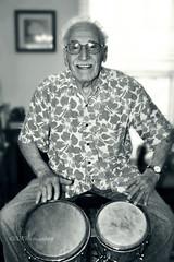 "Jack ""Mr. Bongo"" Costanzo (ilovecoffeeyesido) Tags: portrait blackandwhite musician bongos mrbongo jackcostanzo"