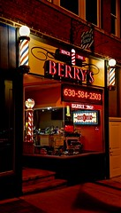 Berry's Barber Shop- Explore 11-14-2015  # 175 - Saint Charles IL (Meridith112) Tags: summer night illinois nikon mainstreet august il explore barbershop barber kanecounty buck flickrmeetup saintcharles 100years 2015 wscf flickrgroupmeetup oldbarbershop explored jimberry nikon2485 westsuburbanchicagoflickrers over100years shaveandahaircuttwobits berrysbarbershop nikond610 clarenceberry michaelthebarber explore11142015 clarencebuckberry