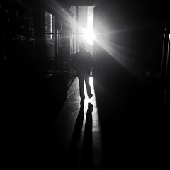 Into the Light. A fellow photowalker indulged me when I requested he step into the light for this image. Sometimes we have patience for the moment to unfold. Sometimes we ask our friends to create the moment. iPhone6+ | #Snapseed _____________________ #se (katehailey) Tags: 2015 seattleflickrmeetup instagram ifttt snapseed stroll1511