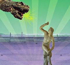 David and the Dino (Joelstuff V4) Tags: david statue dragon dinosaur fear popart parody