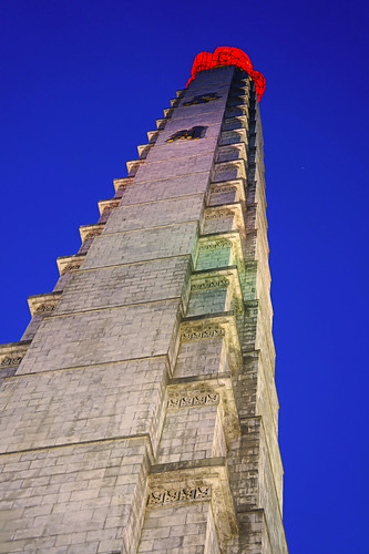 Juche Monument at the blue hour, Pyongyang
