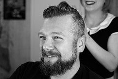 Markus I Salon Artifex #4 (Eera Photography) Tags: portrait blackandwhite blackandwhitephotography blackandwhiteportrait maleportrait man beard barber barbershop hairdressers hairdressingsalon styling 50s rockabilly rockabillystyle retro vintage 50mm