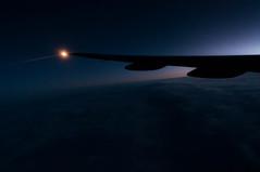 Dawn on Trans-Atlantic Flight (Victor Dvorak) Tags: flying flight aviation travel transatlantic unitedairlines ua london heathrow lhr england uk unitedkingdom boeing777 nikon d300s 20mmf28d dawn sunrise