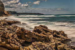 Yellow Rocks DSC_7022 (BlueberryAsh) Tags: capenelson lighthouse portland yellowrocks coast cliff limestonecliff windturbine ndfilter longexposure nikond750 nikon24120 beach oceanseascape rocks yellow rock