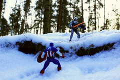Encounter In The Forest (Leo Goubine) Tags: marvellegends marvel hasbro captainamerica taskmaster battle snow winterforest winterlandscape winter white winterbeauty toyphotography toys acba actionfigures articulatedcomicbookart actionfigure