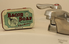 Bacon Soap. 1 (EOS) (Mega-Magpie) Tags: canon eos 60d indoor bacon soap bathroom sink faucet mansfield one bar hand bath a real wonder indoorwinterblues archie mcphee