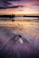 The Long View (daedmike) Tags: arbroath angus scotland sunrise reflection sand harbour wall morning clouds contrejour