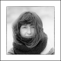 ... (jean76_58) Tags: jean7658 pentax portrait streetportrait street photography woman girl umbrella femme blackwhite bw noirblanc nb monochrome monotone