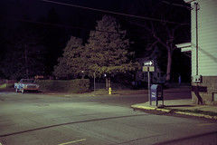 (patrickjoust) Tags: frackville pennsylvania schuylkillcounty blue truck mailbox fujicagw690 kodakportra160 6x9 medium format 120 rangefinder c41 color film cable release tripod long exposure night after dark manual focus analog mechanical patrick joust patrickjoust usa us united states north america estados unidos schuylkill county pa virgin mary statue