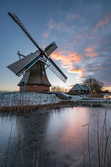 Little Dutch Winter (Dani℮l) Tags: molen mill windmill noordermolen historical nederland holland typisch cultuur erfgoed monument groningen winter ijs riet reed ice snow frost rijp sunrise daniel bosma landscape landschap wiek cloudscape colorful