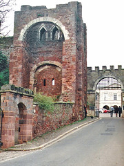 Exeter.  March 2000 (Cynthia of Harborough) Tags: 2000 architecture arches castles cars entrances people ruins