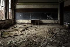 (Rodney Harvey) Tags: abandoned school detroit urban decay exploration chalkboard classroom teachers desk