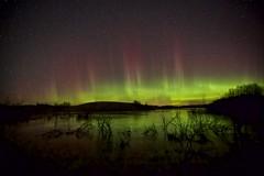 October 28 2014 Twisty (John Andersen (JPAndersen images)) Tags: alberta aurora auroraborealis farms fences madden night pond road sky snow stars