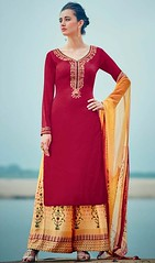 Maroon Color Cotton Satin Palazzo Dress