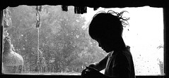 reflecting... (krøllx) Tags: portrait people blackandwhite bw white black window monochrome rain silhouette child simple 1411290122