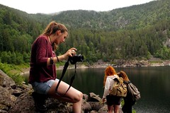 Lake (Benjamin Geoffroy) Tags: camera wood girls wild mountain lake mountains tree love nature beauty forest trek vintage river hair bag landscapes ginger women long peace dream hippy photographers lifestyle oldschool redhead adventure explore backpack benjamin geoffroy