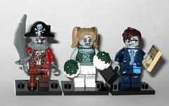zombies - 71010 2 zombie pirate and 71010 8 zombie cheerleader and 71010 13 zombie businessman monsters series 14 minifigures 2015 (tjparkside) Tags: 2 eye broken girl hat monster businessman beard piggy skull glasses pig hand cross lego fig zombie pirates 14 leg tie 8 mini brain suit pirate brains figure sword bones commuter leader undead series times monsters cheer cheerleader hook patch zombies 13 suitcase peg briefcase figures cheering figs tails legged collectable fourteen cutlass 2015 cheersquad minifigures braaains 71010