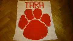 Paw blanket for Tara (dochol) Tags: cute wool paw handmade name crochet craft yarn blanket afghan manta personalised croche crochethooks haakenwert