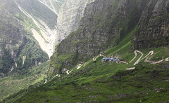 Towards Hemkund Sahib (koustuvb) Tags: world park flowers sky cloud india mountain plant heritage field grass june trekking trek river landscape outdoor hill may july august ridge national valley uttaranchal mountainside sahib tours grassland hemkund himalayas sites foothill joshimath govindghat uttarakhand chamoli rudraprayag ghangharia pushpawati