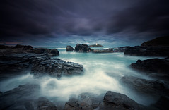 Coastal Guardian (SAR1N) Tags: uk longexposure sea lighthouse beach water nikon cornwall waves lee godrevy d90 bwnd110