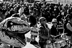 Rawr (Liza Williams) Tags: march marchingband makingmusic band musician music drummer percussion drums streetphotography street holiday parade costume dinosaur dino inflate inflatablesuit airsuit chubsuit bw blackandwhite atlanta halloween l5p l5phalloweenparade lavishperspectivephotography littlefivepoints lizasphotos lizacochran lizawilliams lavishperspective lightroom