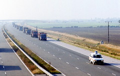 Miners Strike June 1984 Truck Convoy M18 (2) (asdofdsa) Tags: transport 1984 trucks coal pentaxmesuper convoy policeescort minersstrike