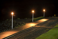 There Are Four Lights (Curtis Gregory Perry) Tags: longexposure light grass night oregon train nikon track waterfront path trolley sidewalk astoria gravel d800e