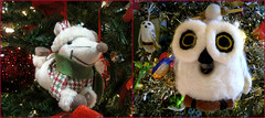 Warm Fuzzy Ornaments (Bennilover, off till Feb. 13) Tags: christmas school trees silver children real lights dolls photos bears christmastree mice ornaments angels decorating owls smells