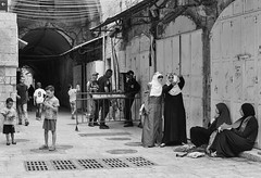 Life in the Old City (Warriorwriter) Tags: girls square israel alley palestine westbank military muslim jerusalem middleeast domeoftherock christian arab lane jewish conflict ilford israeli oldcity idf levant selfie palestinian fp4plus