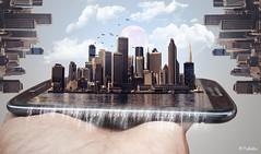 Smartphone City (In Explore). (worldwideshubham) Tags: smartphone city sanfransisco clouds moon birds splash water
