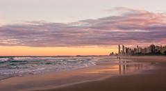 Week 1 Challenge - Landscape (Barb_C) Tags: reflections buildings waves ocean sea goldcoast beach surfersparadise mainbeach sky sunset