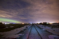 Friday tracks look east (John Andersen (JPAndersen images)) Tags: aurora carstairs didsbury farm fences horizon house milkyway night railroad road rural silhouettes sky stars trees