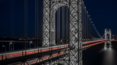 Red White and Blue! (iShootPics) Tags: water light trails bluehour george washington bridge sel1635z nyc gwb long exposure newjersey sony nightscape a7r presidents day newyork georgewashingtonbridge longexposure presidentsday lighttrails garywalters