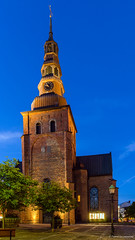 St. Mary at early night (Paweł Szczepański) Tags: old city blue shadow building brick tower heritage clock church saint silhouette architecture night facade dark religious se ancient europe european arch view god sweden pavement sacral faith prayer religion pray culture sunny swedish lord medieval historic holy frame cult historical lantern middle scandinavia romanesque ages blessed scandinavian scania relic ystad skånelän