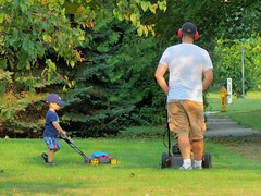 IMG_3463 (2) Like Father, Like Son #2 (jgagnon63@yahoo.com) Tags: family cute grass yard work fatherandson likefatherlikeson mowing yardwork familylife lawnmowing cuttinggrass escanaba familyscene canonsx40 escanabasummer