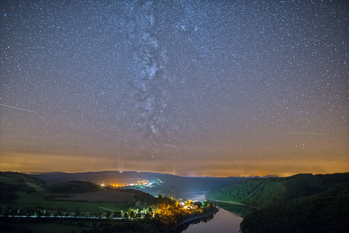 A beautiful night in Upper-Sûre Lake, Luxembourg