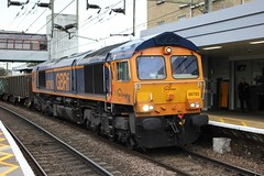 GBRf . 66763 . Bishiop's Stortford Station , Hertfordshire . Saturday 24th-October-2015 . (AndrewHA's) Tags: usa mill station wagon gm diesel empty working indiana railway loco 66 class harlow locomotive muncie peterborough hertfordshire generalmotors bishopsstortford gbrf 66763 jt42cwr progressrail 6e80